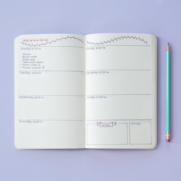 Here's another weekly option: | 19 Bullet Journal Layouts For Tracking Your Mental Health