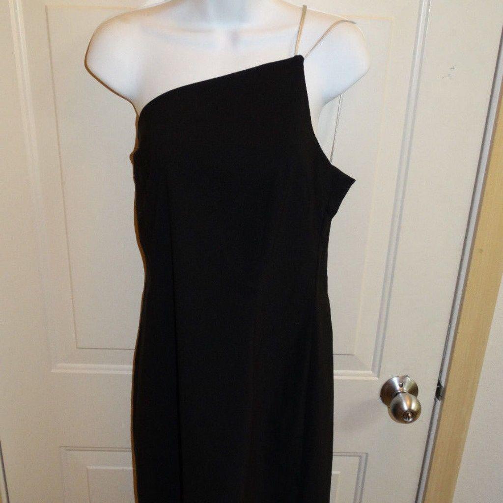 Express Black Dress One Shoulder With Silver Strap