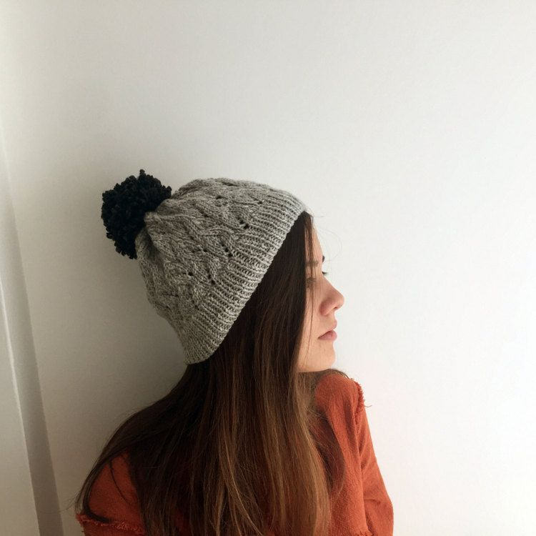 Winter Hat / Hand Knitted / Grey in Color by SundriesModern
