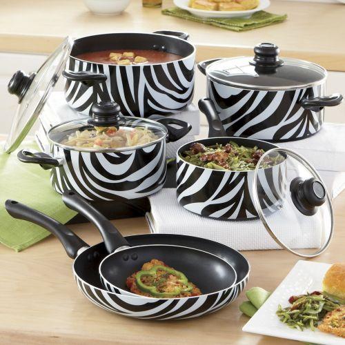 Kitchen Accessories Brands: Ginnys Brand Animal Print Nonstick Aluminum Cookware Set