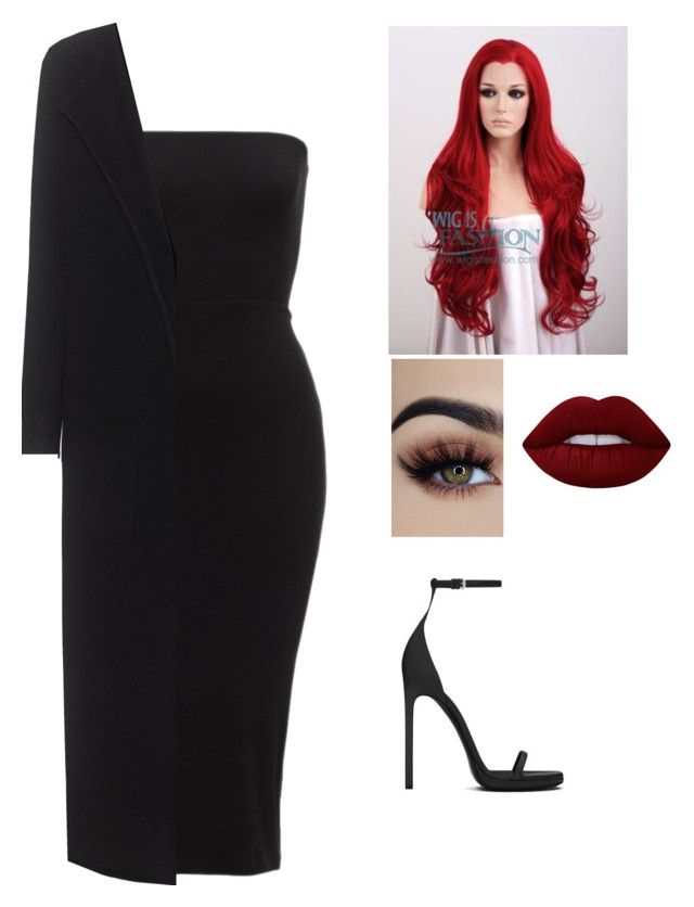 """lady in black"" by minnamny ❤ liked on Polyvore featuring Oats Cashmere, Yves Saint Laurent and Lime Crime"