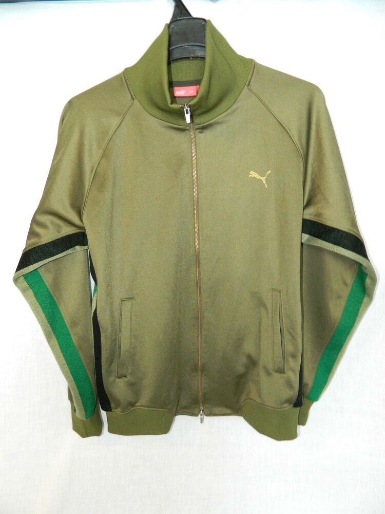 Puma Japan Olive Green Track Jacket Mens Large L Full Zip