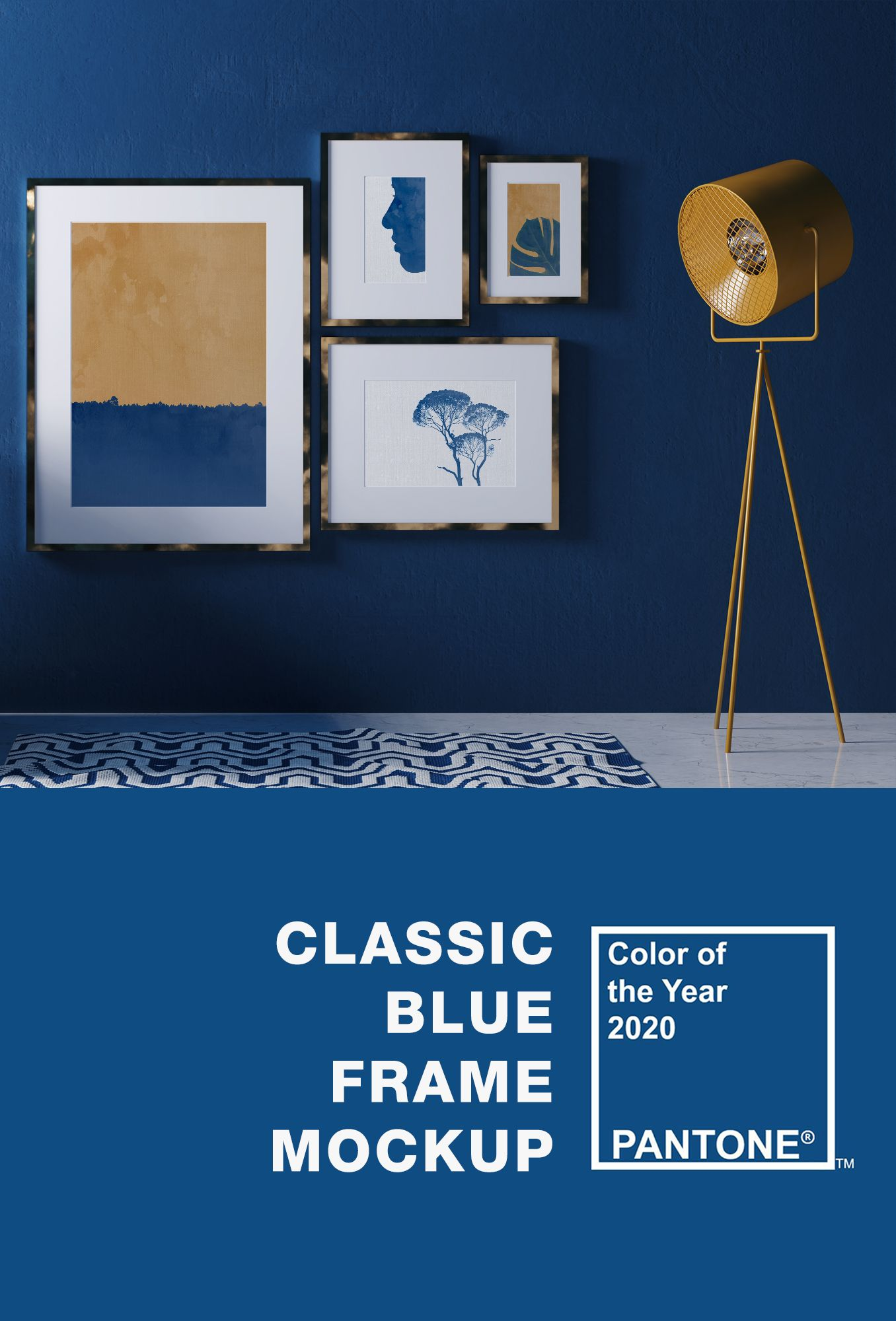 Classic Blue Interior Mockup Blue Interior Classic Blue Pantone Color Of The Year