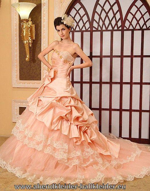 Farbiges Brautkleid Abendkleid Ballkleid mit Schleppe in Aprikose ...