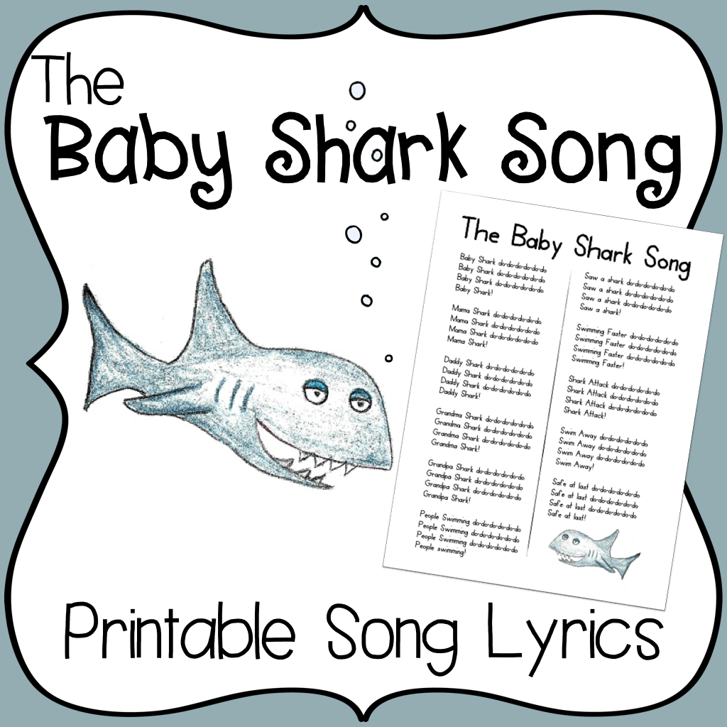 Baby Shark Song Printable Lyrics Baby Shark Song Goodbye
