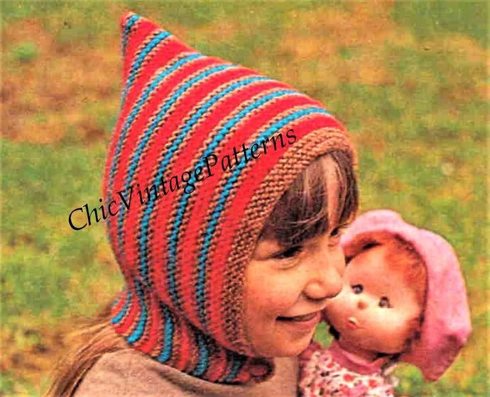 Instant Download Childs Balaclava ... 1970's ... Warm and ...