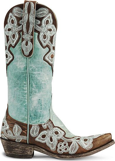 Teal And Brown Cowgirl Boots - Cr Boot