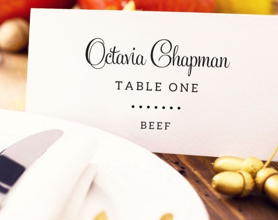 Wedding Place Card With Meal Choice Place Card Template Seating