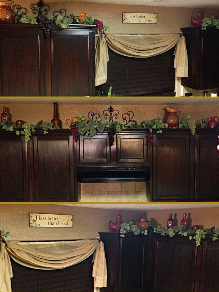 Grapes and vines kitchen decor decor on top on kitchen for Kitchen decorating ideas photos