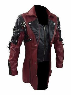 Mens REAL Black Brown Red Leather Goth Matrix Trench Coat Steampunk Gothic  - T18 348236e57a