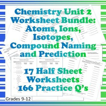 Chem Unit 2 Worksheet Bundle Atoms Ions Isotopes Compo