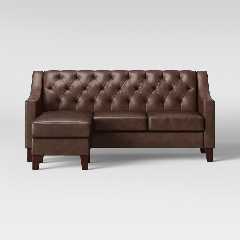 Brilliant Felton Reversible Chaise Sofa Faux Leather Espresso Pdpeps Interior Chair Design Pdpepsorg