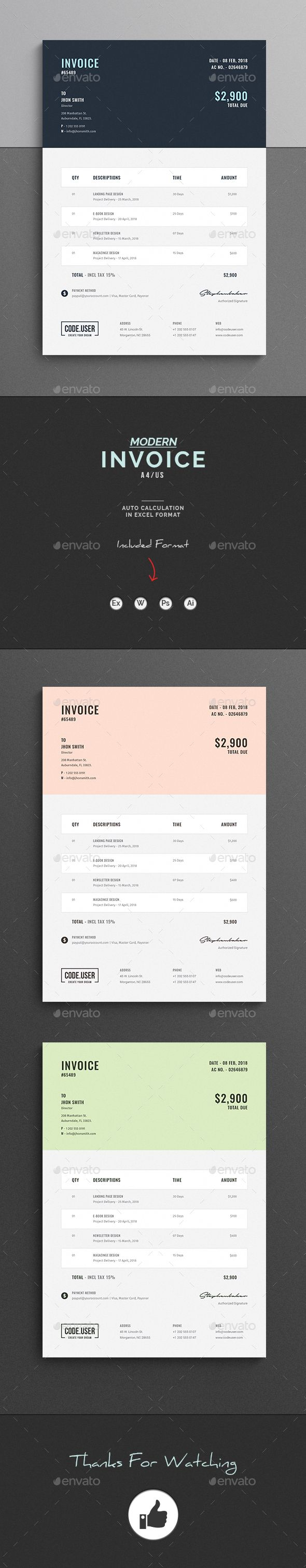 Invoice  Template Brand Identity And Email Marketing Design