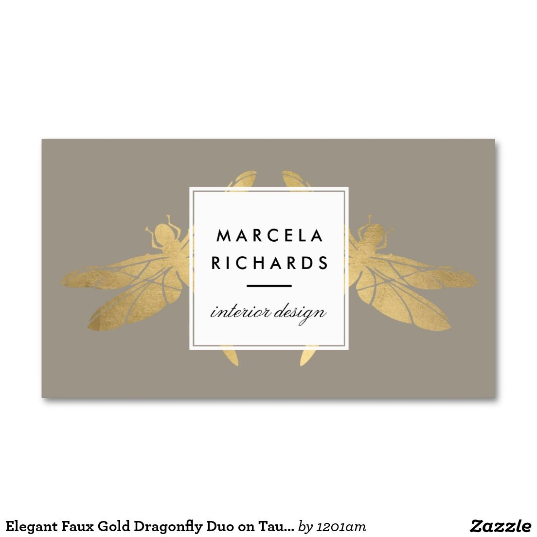 Elegant Faux Gold Dragonfly Duo on Taupe Business Card | Dragonflies ...