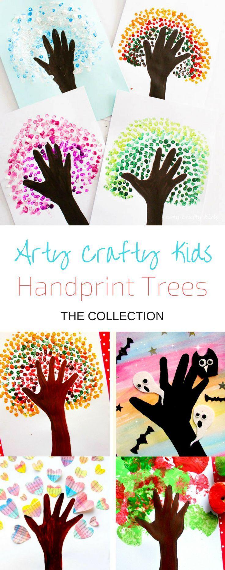 Four Season Handprint Tree   Kinder kunst, Kunstprojekte, Basteln ...