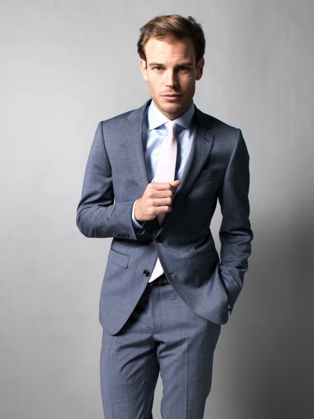 Men's Charcoal Suit, Light Blue Dress Shirt, Beige Tie | Blue ...