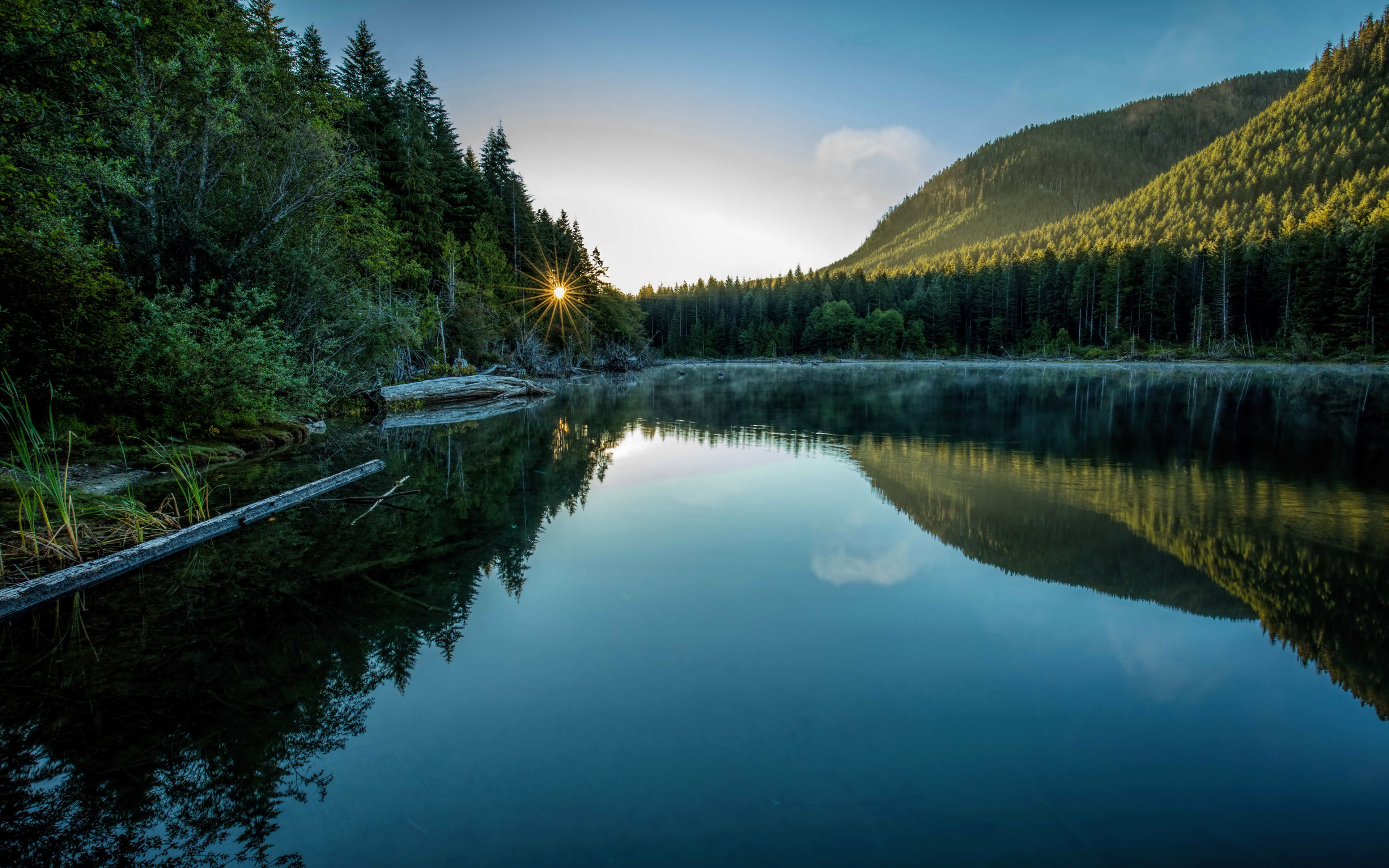 4k Canada Morning Mountains Lake Forests Sun Rays Summer Mountain Landscape Landscape Mountain Lake