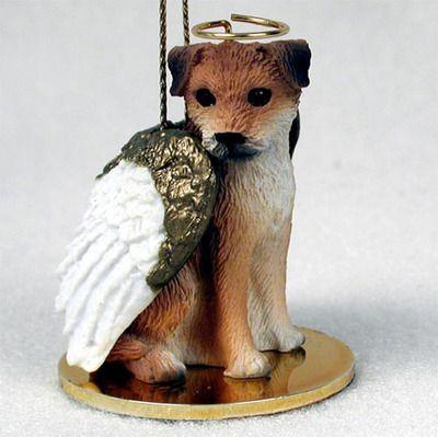 Border Terrier Ornament Angel Figurine Hand Painted Border