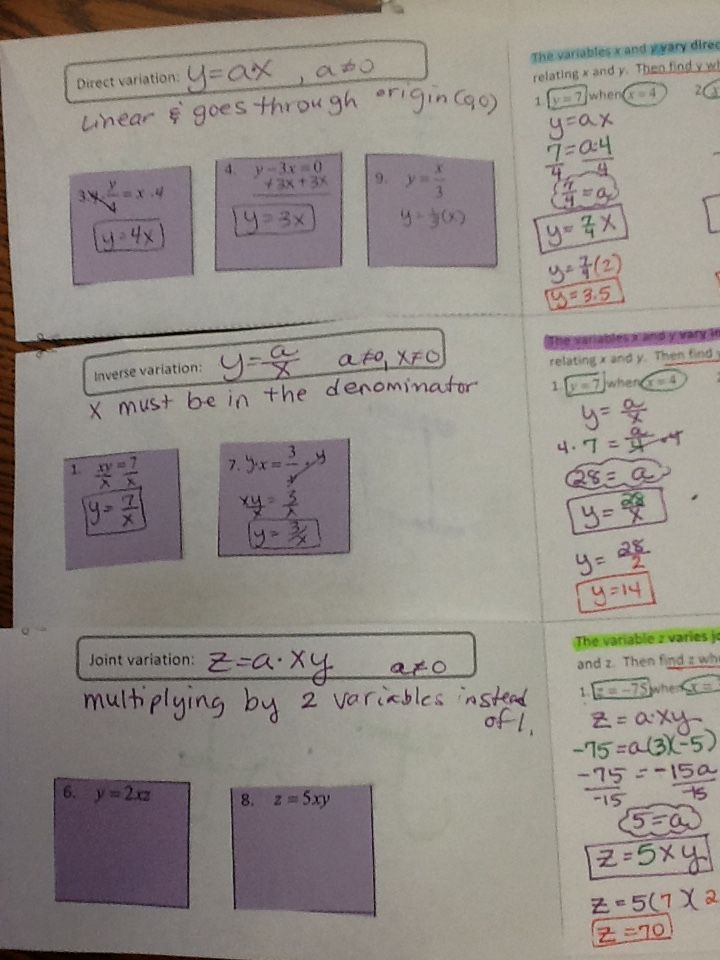 Collection of Solutions Direct Variation Worksheets About ...