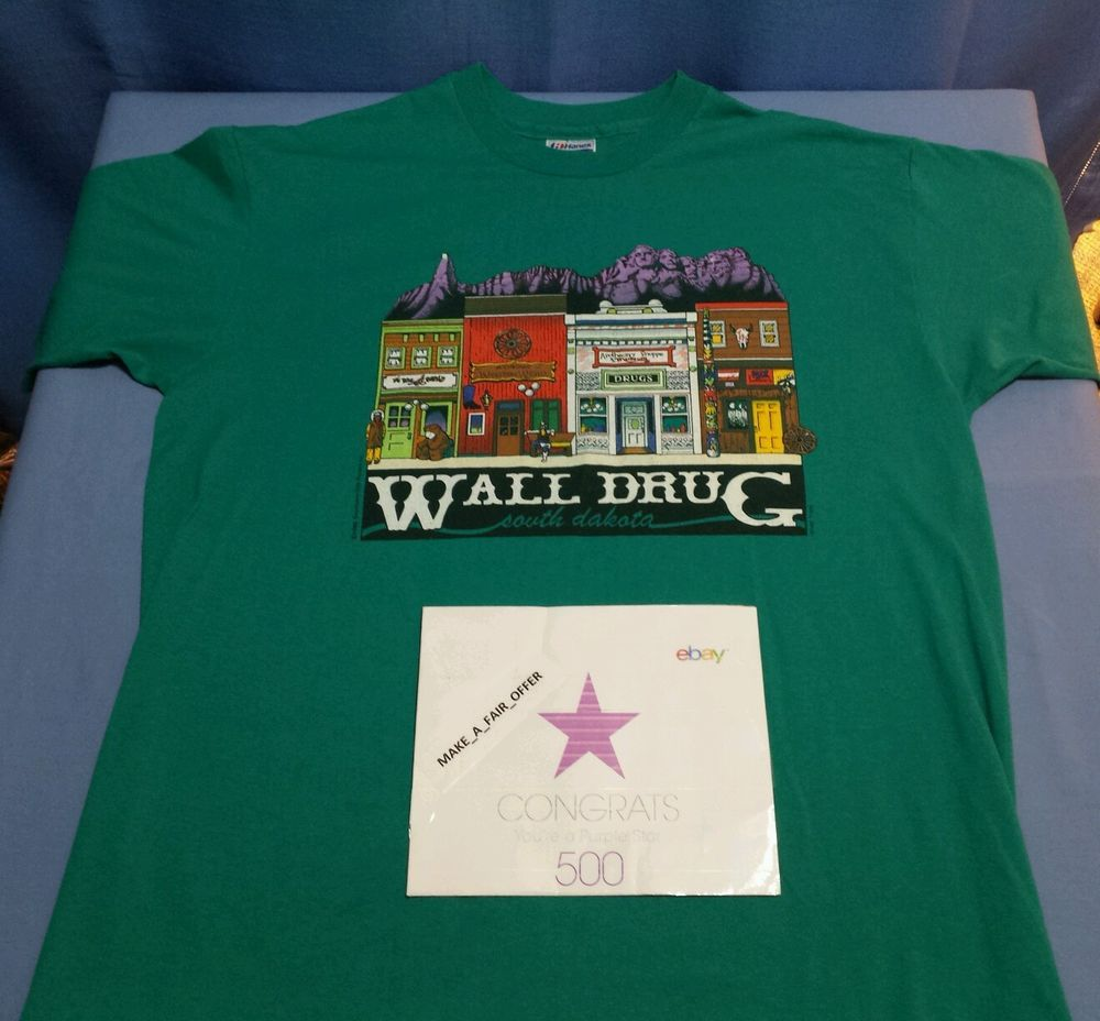 vtg 1990 wall drug south dakota t shirt teal hanes 50 50 on wall drug south dakota id=35931