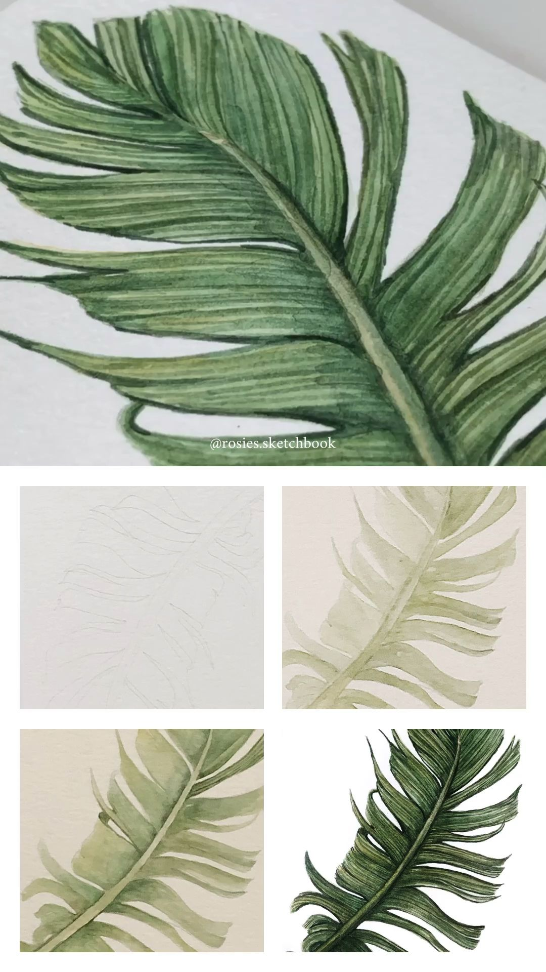 Mini Watercolor Tutorial Of A Tropical Leaf With Step By Step