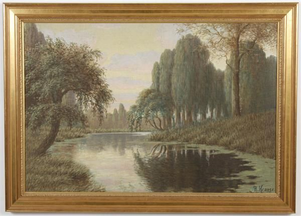 OIL ON CANVAS BOARD - Signed 'R. Krauge' landscape of river and trees. Cond