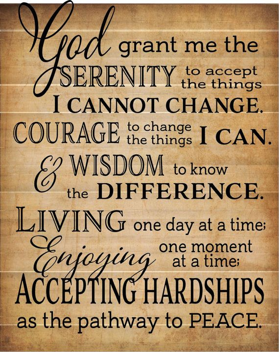 God Grant Me Serenity Prayer Inspirational Wood Sign Canvas Wall Art ...