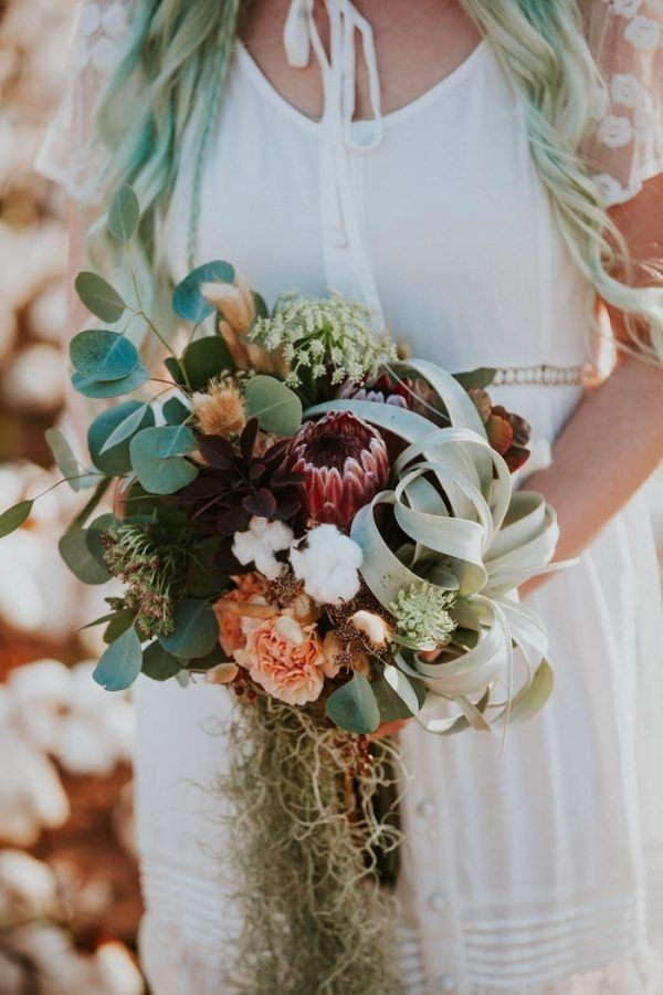 Alternative Bridal Bouquet with Air Plant, Protea, and Cascading ...