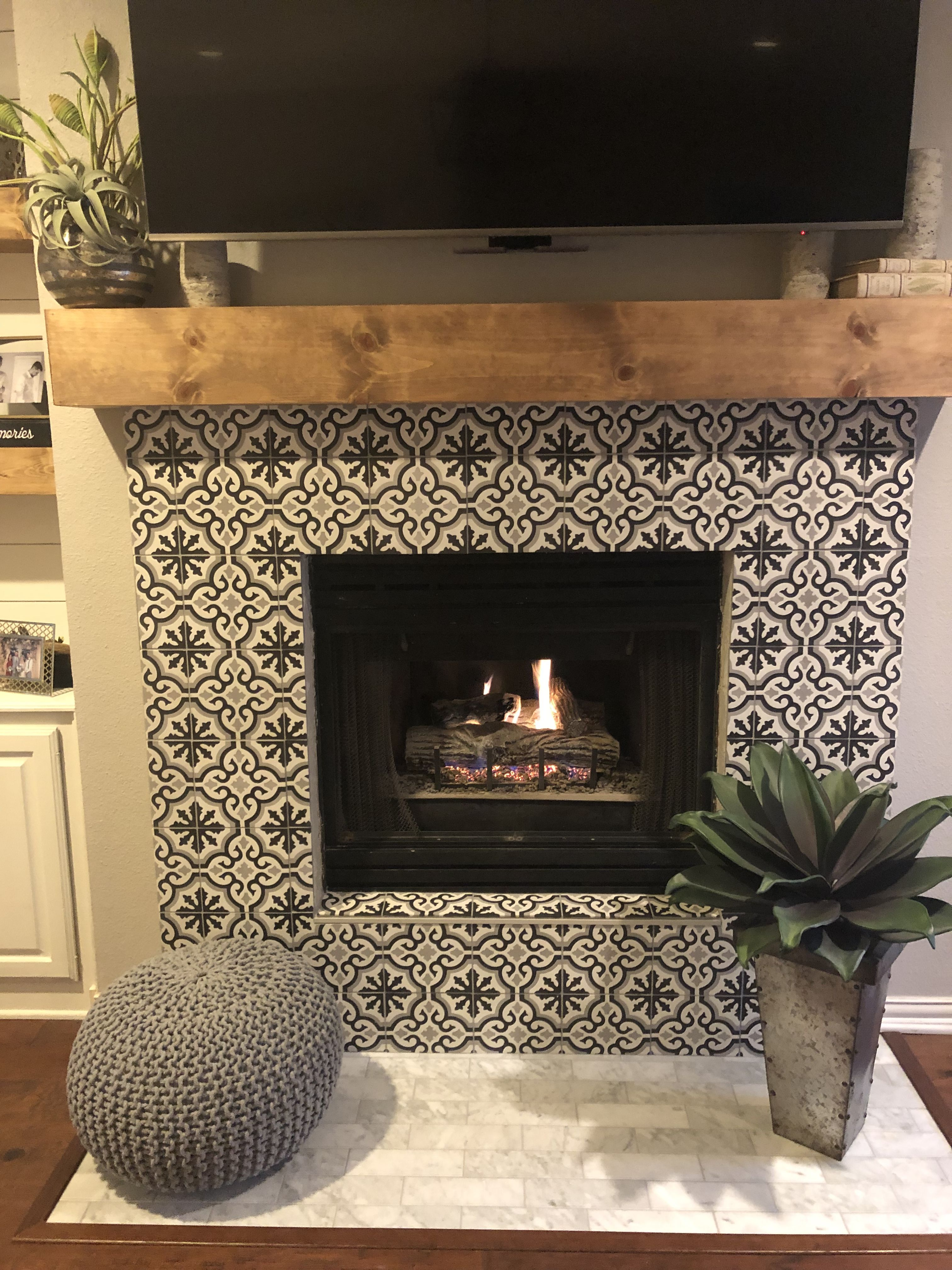 Cement Tile Make Over Removed The Hearth And Tiled Over The Brick Love It Home Fireplace Fireplace Tile Fireplace Remodel