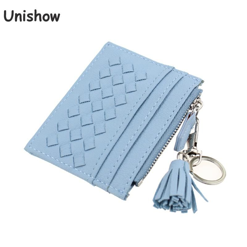 Unishow Tassel Knitting Credit Card Holder Women Small Card Wallets