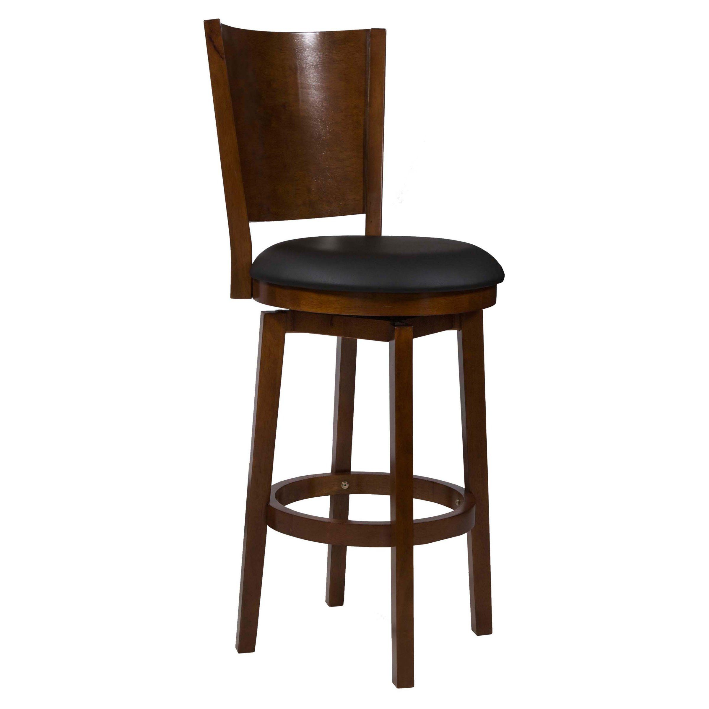 Powell Big Tall Solid Back Wood Bar Stool - Bar Stools at ...