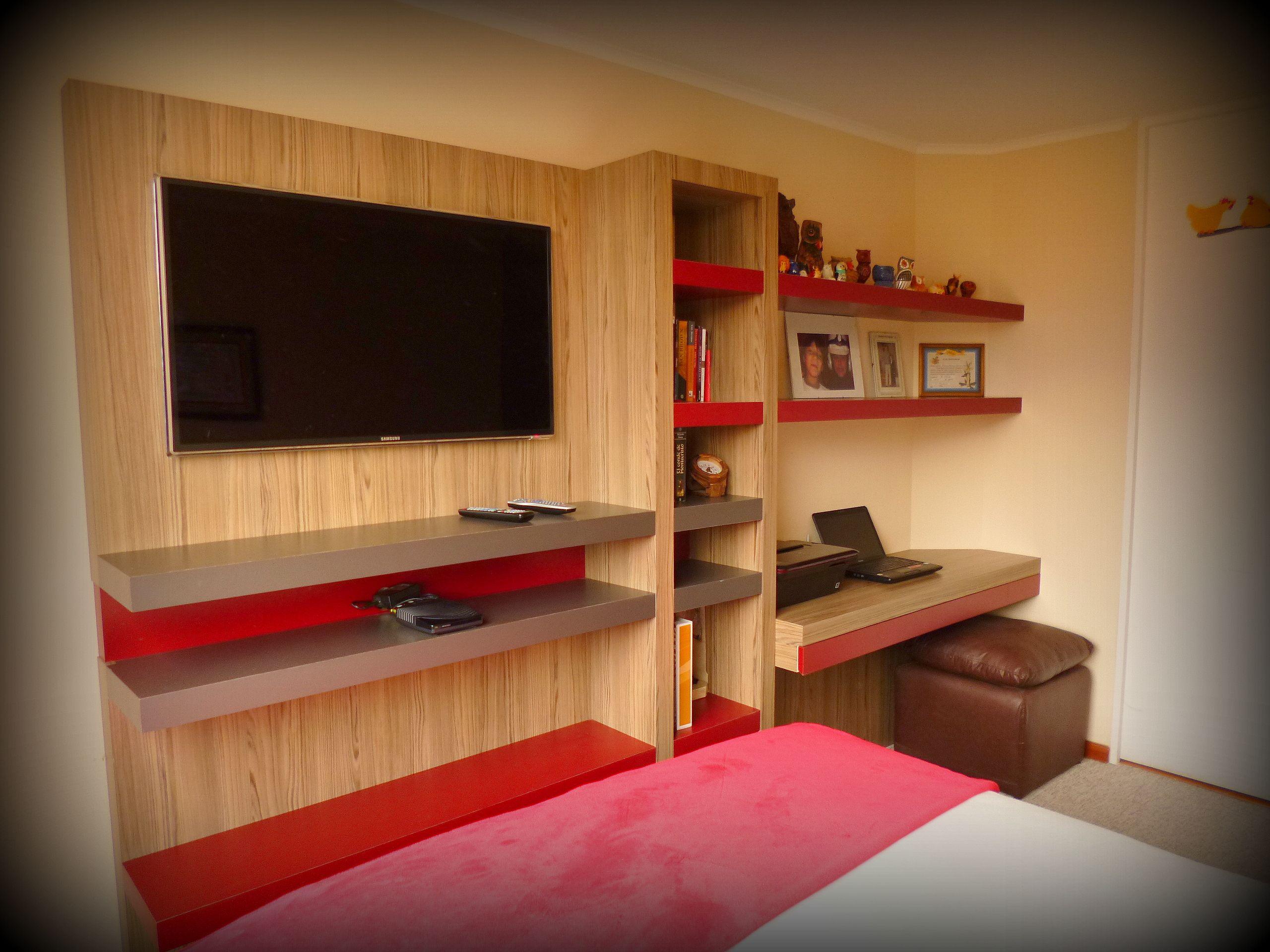 Mueble panel para tv librero con caj n profundo inferior for Mueble tv dormitorio