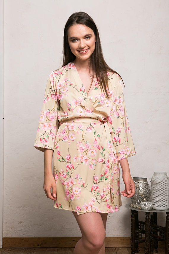 941d89c93d Satin Robe, Floral Bridesmaid Robes, Gold Satin Kimono, Getting Ready Robe,  Blue Floral Robe, Cream Satin Dressing Gown, Bridal Party RobeOur new Leya  robe ...