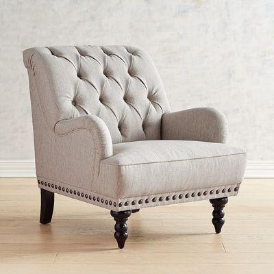 Chas Gray Blue Amp White Seersucker Armchair Armchair