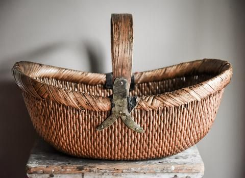 Full View Of Large Antique Chinese Basket With Carrying Handle