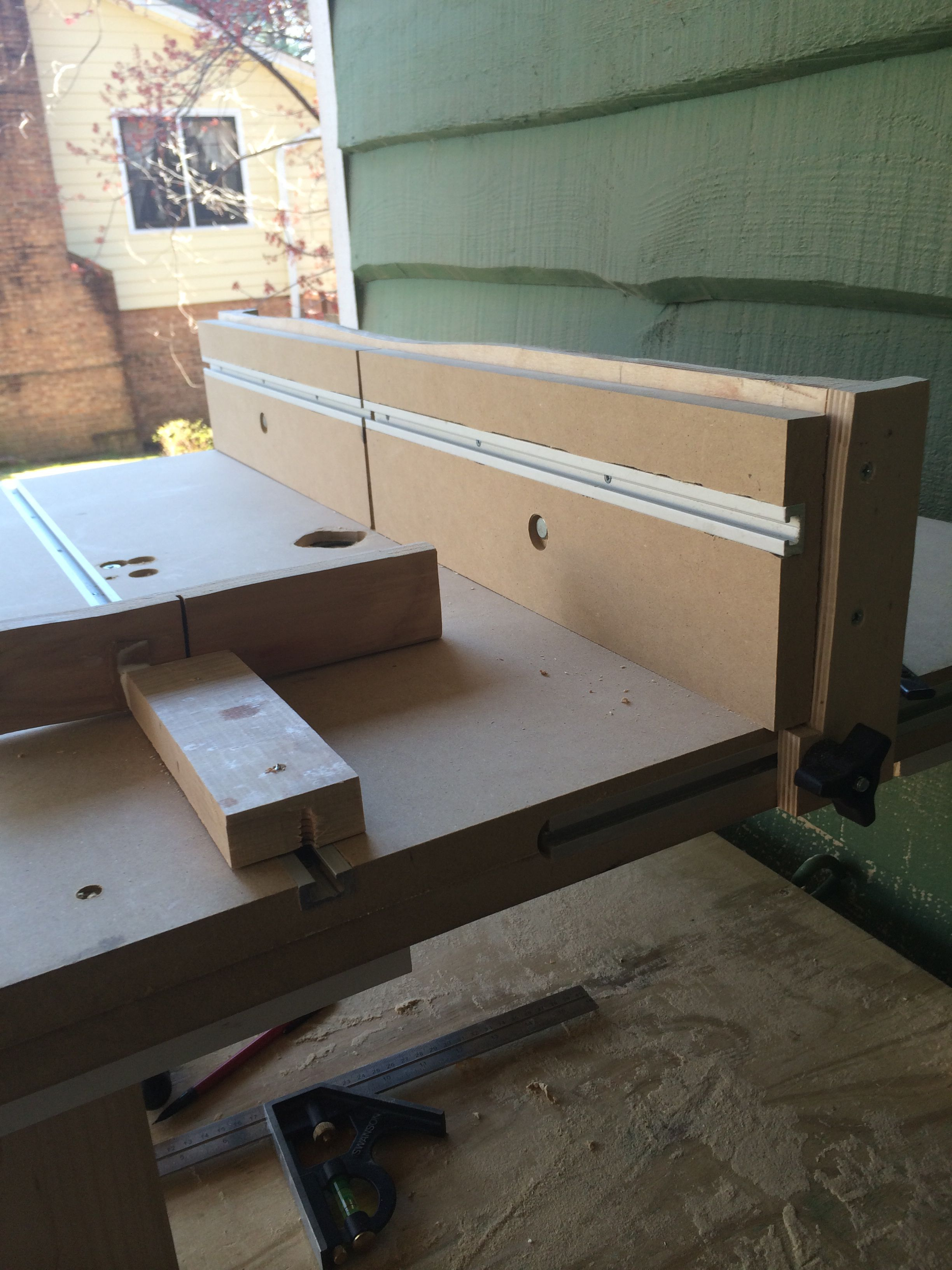Homemade router table t track to move fence forward and back t homemade router table t track to move fence forward and back t track on fence to put featherboards miter gauge track also added greentooth Image collections