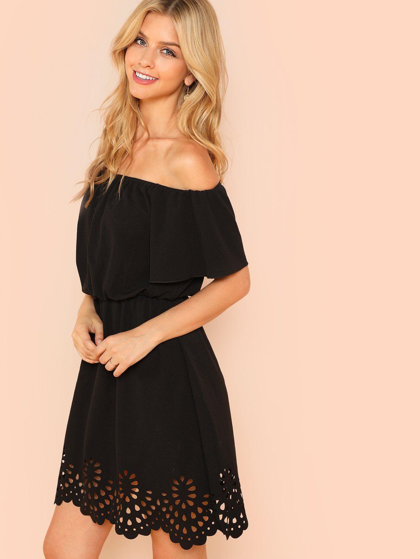 Off Shoulder Cutout Scallop Dress Shein Sheinside Dresses Scalloped Dress Beautiful Fashion [ 1785 x 1340 Pixel ]