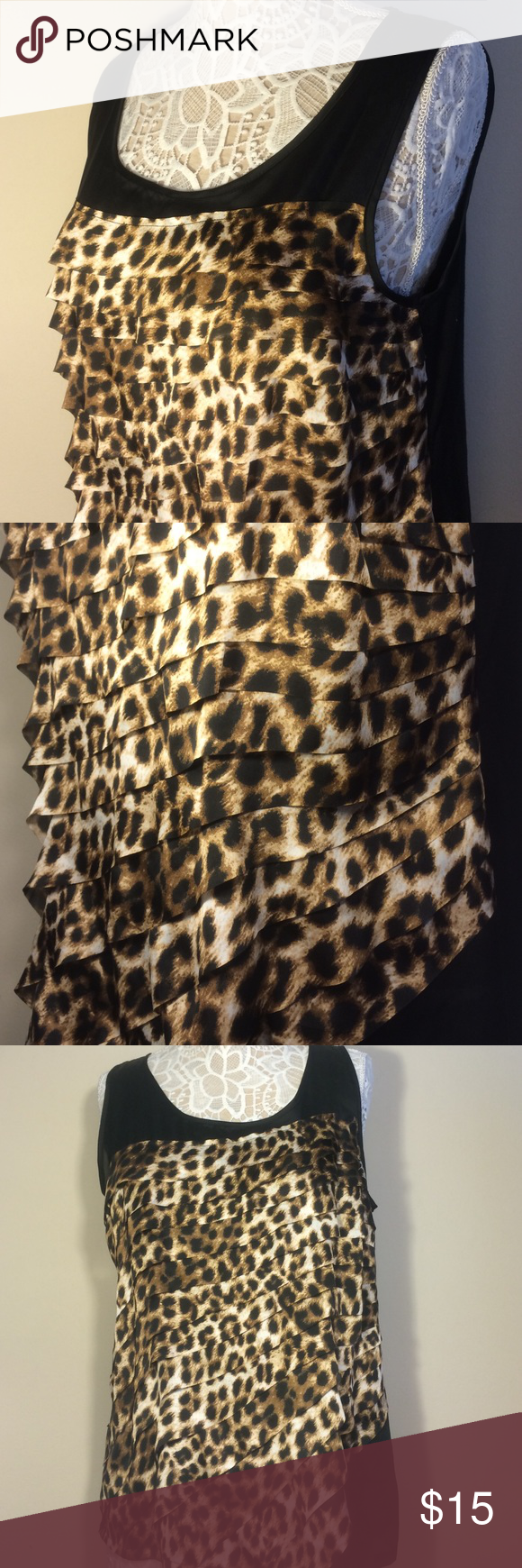Leopard Print Sleeveless Blouse Animal print sleeveless Alfani blouse. Size large. Perfect for work or even a night out! Alfani Tops