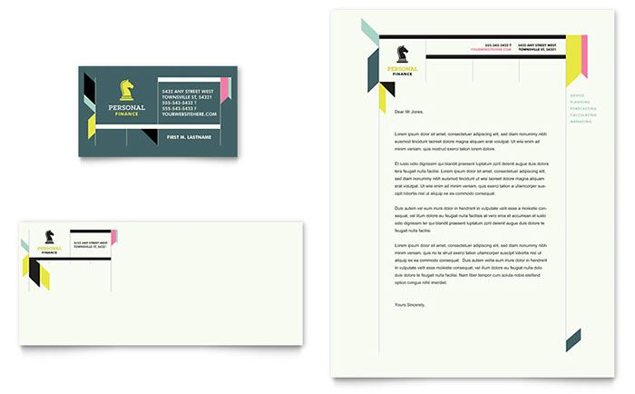 Personal Finance Business Card And Letterhead Template Design By