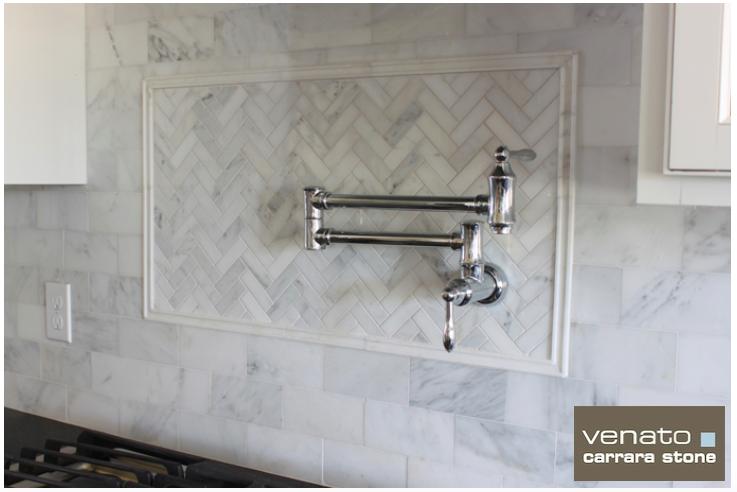 Carrara Venato 1 3 Herringbone And 4 8 Subway Tile Trendy