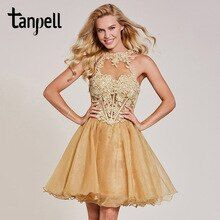 Tanpell appliques cocktail dress champagne halter neck sleeveless knee length a line gown lady homecoming short cocktail dresses #backlesscocktaildress