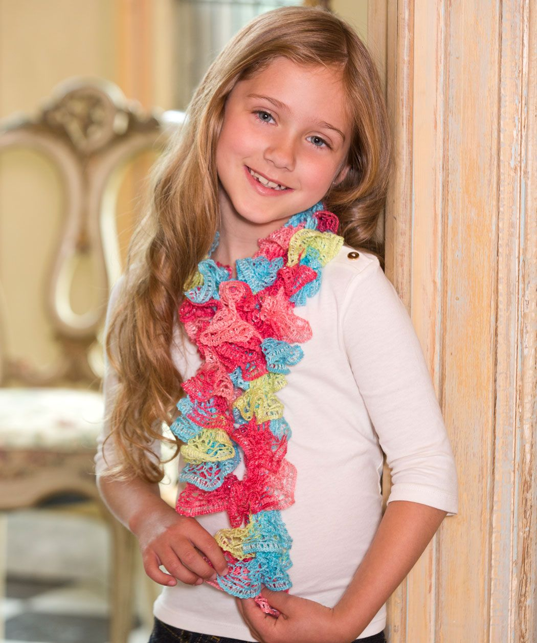 Sweet ruffle scarf crochet pattern red heart crochet patterns sweet ruffle scarf free crochet pattern from red heart yarns bankloansurffo Image collections