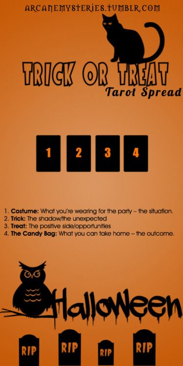 Trick or Treat Tarot Spread. #Tarot Spread found on Pinterest. More tarot spreads (videos and downloads) coming soon! Visit www.TarotAcademy.org