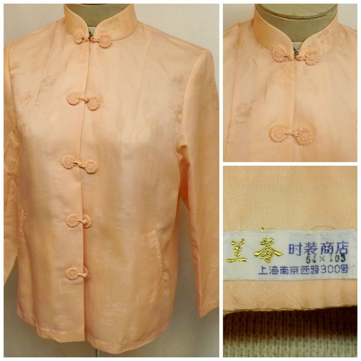 Vintage asian silk blouse top peach with cherry blossoms size