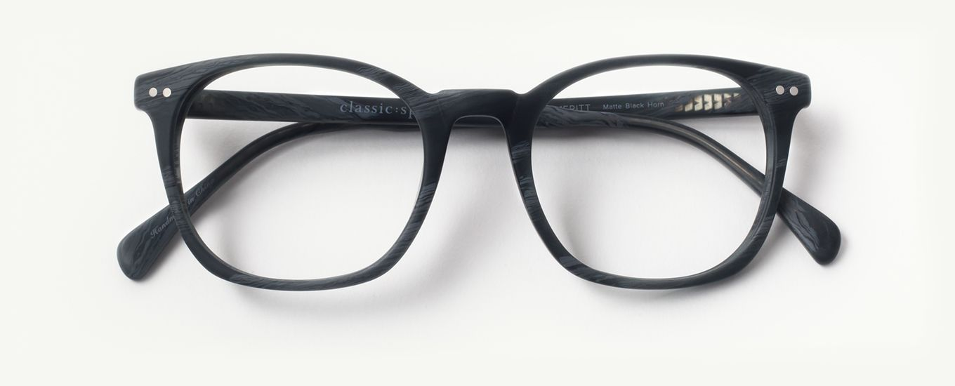 b667d56c55c The Meritt matte black horn glasses are a square frame for oval and round  shaped faces. Features stainless steel hinges