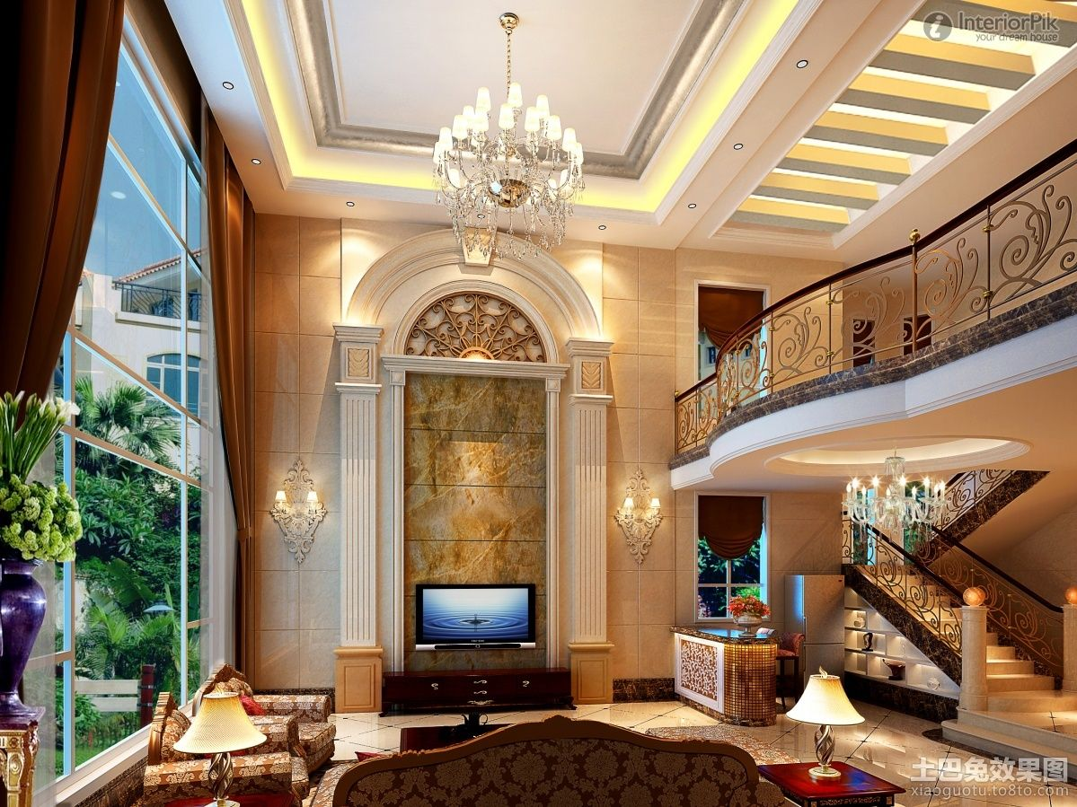 European style living room with modern POP ceiling ...