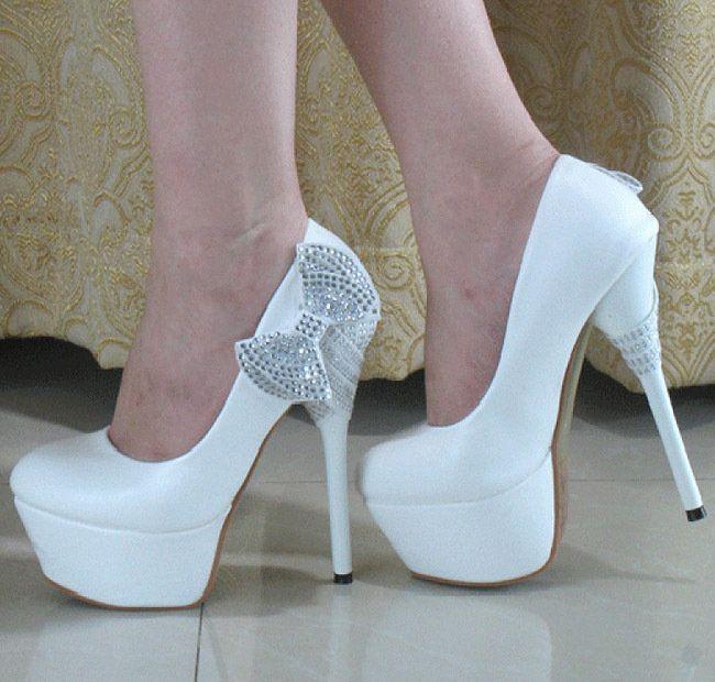 Pretty Crystal Bows Princess Prom Stiletto High Heels Wedding