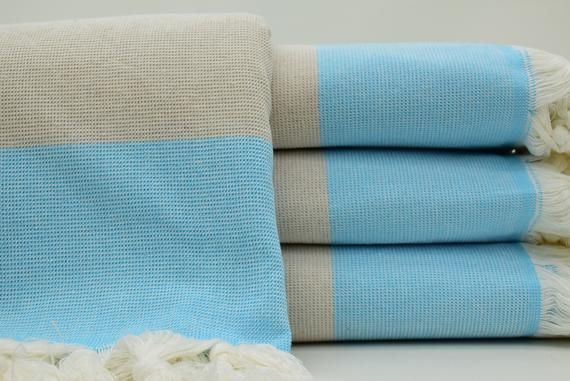 Turquoise And Beige Color Turkish Towel 40x70 Large Beach Towel