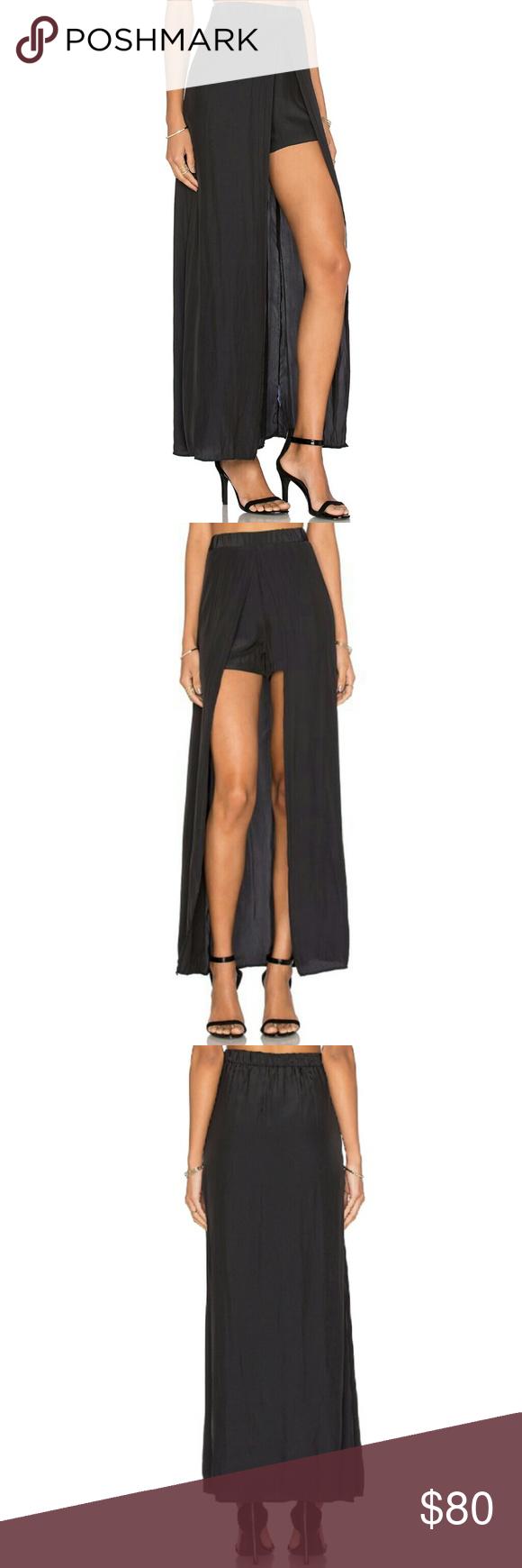 New ella moss black maxi skirt with shorts boutique black maxi
