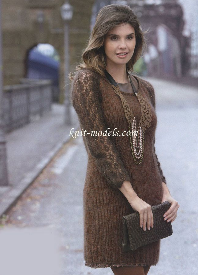 Вязанные платье спицами реглан